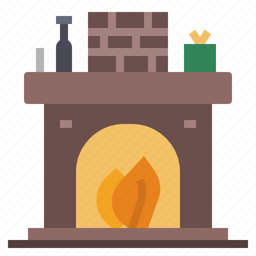 Fireplace, winter, house, xmas, home, christmas, chimney icon