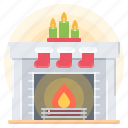 year, new, fireplace, fire, christmas, winter, decoration