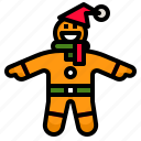 christmas, food, gingerbread, man, sweet icon