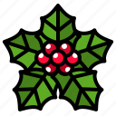 christmas, decoration, holly, leaf, winter icon