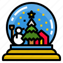 ball, christmas, glass, snowglobe icon