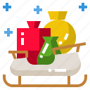 christmas, claus, gift, santa, sleigh icon
