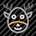 animal, christmas, face, reindeer, santa