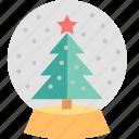 globe, snow, christmas, gift, glass, present, tree icon