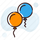 balloons, celebrate, party icon