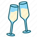 birthday, celebration, champagne, christmas, new year icon