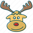 christmas, deer, los, red nose, reindeer, santa claus icon