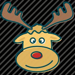 christmas, deer, los, red nose, reindeer, santa claus icon