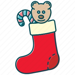bear, christmas, gift, lollipop, santa claus, sock, toy icon