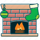 christmas, decoration, fire, fireplace, flame, home