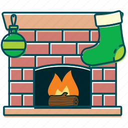 christmas, decoration, fire, fireplace, flame, home icon