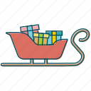 christmas, gift, gifts, santa claus, santa's sledge, sledge icon