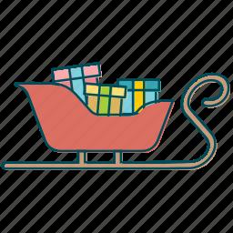 christmas, gift, gifts, santa claus, santa's sledge, sledge icon