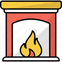 living room, fireplace, warm, home, fire, winter, chimney icon