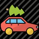 transport, car, vehicle, christmas tree, automobile, pickup car, transportation