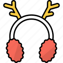earmuffs, clothing, fashion, accessories, reindeer antler, winter, cold icon
