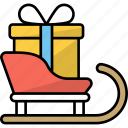 transport, sleigh, gifts, sledge, christmas present, santa sled icon