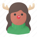 christmas, woman, rudolph, rudolph costume, avatar icon