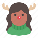 avatar, woman, rudolph, rudolph costume, christmas icon