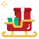sleigh, sledge, christmas, xmas, sled, transportation icon