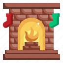 fireplace, christmas, xmas, furniture and household, chimney, warm icon