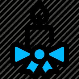 bow, candle, christmas, ribbon icon