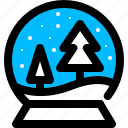 globe, pine, snow, tree icon