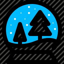 globe, pine, snow, tree icon