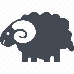 animal, christmas, horns, lamb, wool icon