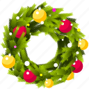 christmas, holiday, santa, wreath icon