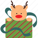 christmas, deer, gift, santa icon