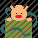 christmas, deer, gift, santa icon