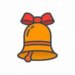 alarm, bell, bow icon