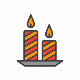 candles, christmas, holiday icon