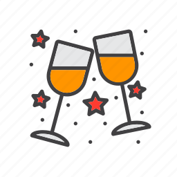 celebration, clinking, glasses, stemware icon