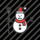 snowman, man, snow, christmas
