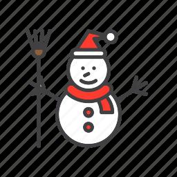 christmas, man, snow, snowman icon