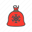 bag, christmas, claus, gifts, santa icon