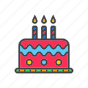 cake, candles, birthday