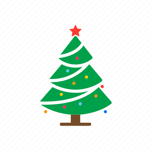 christmas, decorated, fir, pine, spruce, tree icon