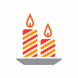 candles, christmas, holiday icon