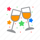 clinking, glasses, stemware, wine icon
