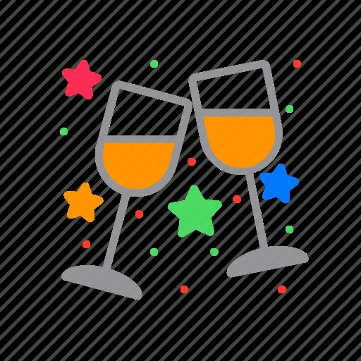 clinking, glasses, stemware, wine icon