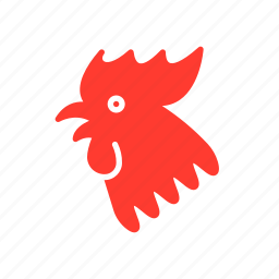 new, red, rooster, year, zodiac icon