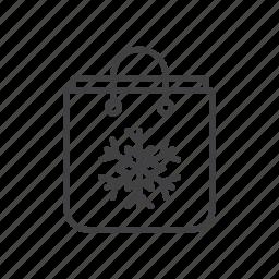 bag, shopping, snowflake icon