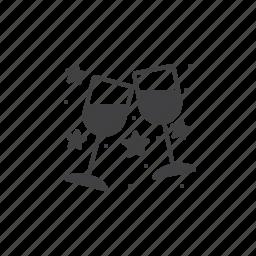 clinking, stemware, wineglass icon