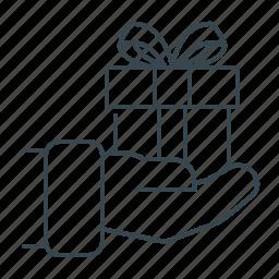 box, christmas, gift, give, give a gift, hand, present icon