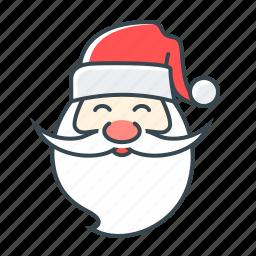 christmas, santa, santa claus, smile icon