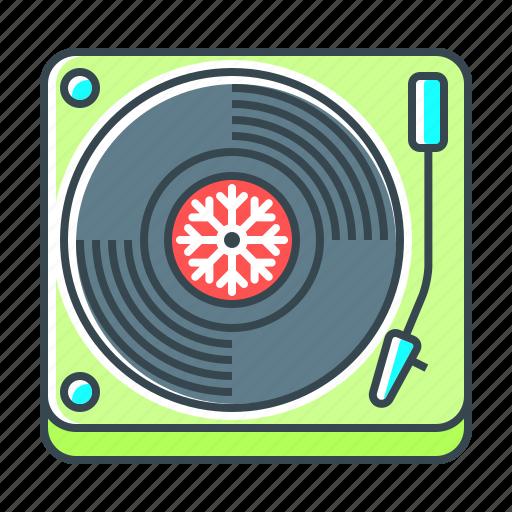 christmas, music, sound, turntable, vinyl icon