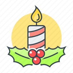 candle, christmas, cosiness, decoration, holly icon